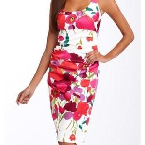 NWT Suzi Chin Starburst Floral Ruched Dress 12